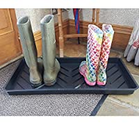 The Gracehill Garden Large Muddy Boot Plastic Boot Tray (BLACK) - Keep Muddy Boots and Shoes off Your Clean Floor. Holds up to 3 pairs of adult boots.