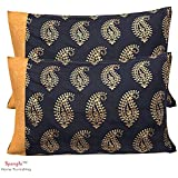 Spangle 104 TC Jaipuri Patola Gold 100% Pure Cotton Pillow Cover Set (2 Pcs)