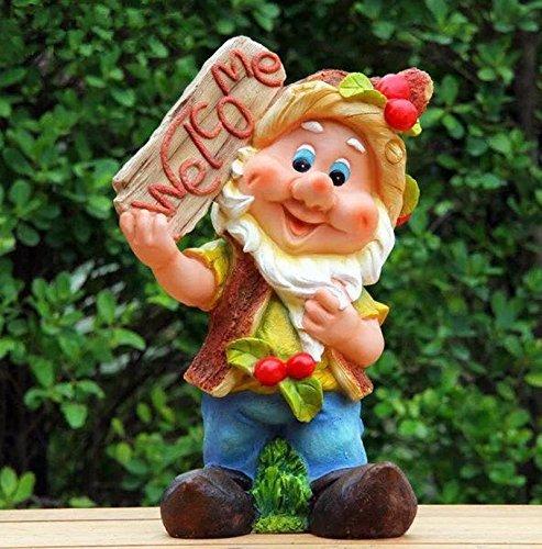 Design 1 Zwerg XXL 9408 -1 Welcome Willkommen 45 cm Hoch Deko Garten Gartenzwerg Figuren Dekoration verschiedene Design