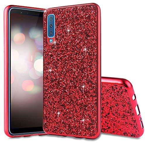WIWJ Handyhülle Kompatibel für Samsung Galaxy A7 2018 Glitzer Rot,Bling Sparkles Glitter Cover TPU Silikon Bumper Case Handy Schutzhülle für Samsung Galaxy A7 2018 Rückseite