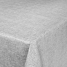 Hule Mantel encerado cuadros, mesa mantel de hule lavable, toalla, gris plateado, 200 x 140 cm