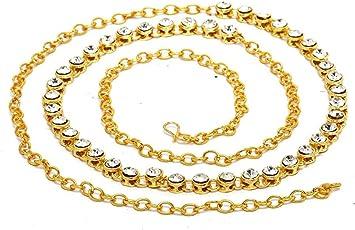 Satyam Kraft Golden Traditional Diamond Metal Belly Chain For Women
