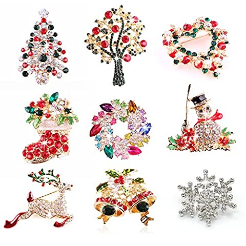 Mavis's Diary 9 Pieces Xmas Glittering Multi-Colored Diamonds Crystal Festival Bling Christmas Tree Christmas Boot Wreath Jingle Bell Brooch Pin Christmas Gifts Pack of