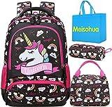 Meisohua Unicorno Zaino Scuola Elementare Impermeabile Zaini Bambino Sacchetti di Scuola Per Ragazze leggero campeggio borse casual Daypacks per adolescenti studenti 3 pezzi Marrone Scuro