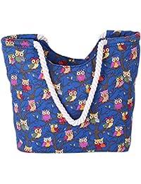 Cc-Us Women Canvas Shopping Beach Travel Owl Print Tote Shoulder Bags Handbags By C.C-Us