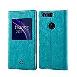 Huawei Honor 8 Hülle,Eactcoo Dünn Premium PU Leder klappbares Folio Flip Case Book TPU Cover Tasche Mit Smart Window View Standfunktion Magnetverschluss Kartenfach Wallet Handyhülle