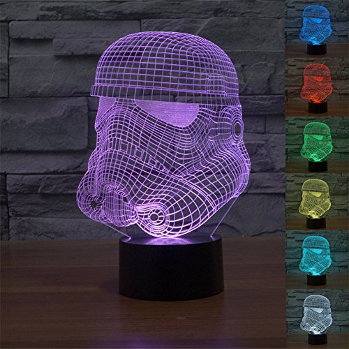 SmartEra® Illusione Ottica Modello 3D della serie Star Wars Stormtrooper imperiale, 7 colori cambiamento, toccare il pulsante lampada da tavolo a LED USB