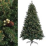 RS Trade® 120 cm ca. 500 Spitzen Dekorierter, EXKLUSIVER künstlicher Weihnachtsbaum der Spitzenklasse mit goldenen Beeren und Tannenzapfen ( schwer Entflammbar ), HXT 1303