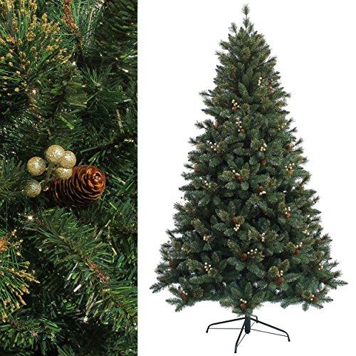 RS Trade® 180 cm ca. 950 Spitzen Dekorativer, EXKLUSIVER künstlicher Weihnachtsbaum der Spitzenklasse mit goldenen Beeren und Tannenzapfen ( schwer Entflammbar ), HXT 1303
