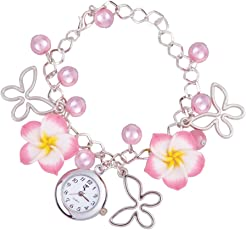 Rrimin Lady Women Flower Butterfly Bracelet Jewelery Quartz Wristwatch Watch Pink