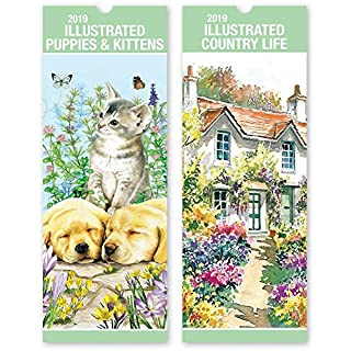 ALANNAHS ACCESSORIES Slimline 2019 Hanging calendar Daily Planner Dates Monthly Pets Nature Cars - -Illustrated Country Life