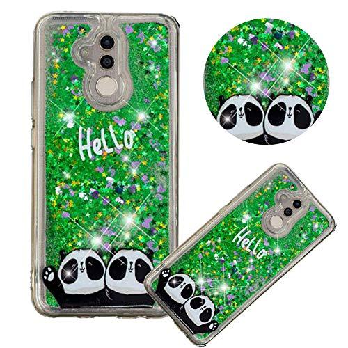 Glitzer Hülle für Huawei Mate 20 Lite,Flüssigkeit Silikon HandyHülle für Huawei Mate 20 Lite,Moiky Luxuriös Mode Zwei Panda Muster Liebe Herzen Treibsand Diamant Weich Gummi Hülle Strass-panda