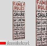 dasmöbelwerk Landhaus Plankenschild Wandpaneel Wand Deko Bild Vintage Spruch Family Rules 15.061.01