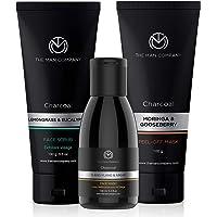 The Man Company Charcoal De Tan Facial Care Kit with Peel off Mask, Face Wash & Face Scrub | Blackhead Remover, Tan…