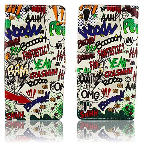 thematys Huawei Ascend P7 Kunst Leder COMIC HAHA Design Klapp Stand Etui Schutz-Hülle Case Flip Tasche Cover