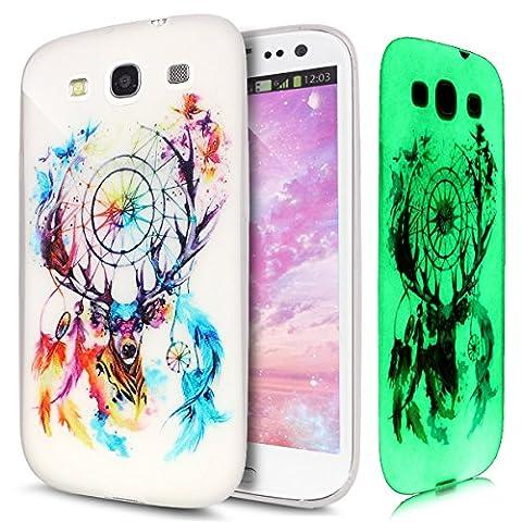 Galaxy S3 Hülle,Galaxy S3 Neo Hülle,Galaxy S3 / S3 Neo Tasche,ikasus® TPU Silikon Schutzhülle Case Hülle für Samsung Galaxy S3 / S3 Neo,Beleuchtete Weiche TPU mit Schwarz Gemalte Muster Handyhülle Galaxy S3 / S3 Neo Silikon Hülle [Leuchtende Transluzent] Stoßdämpfend Transparent TPU Silikon Schutz Handy Hülle Case Tasche Silikon Crystal Case Durchsichtig Schutzhülle Etui Bumper für Samsung Galaxy S3 III i9300 / Galaxy S3 S III Neo Gt - i9301i i9301 - Schmetterling Feder