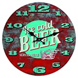 Out of the Blue 79/3085 Glas-Wanduhr, Ice Cold Beer, Durchmesser 34 cm