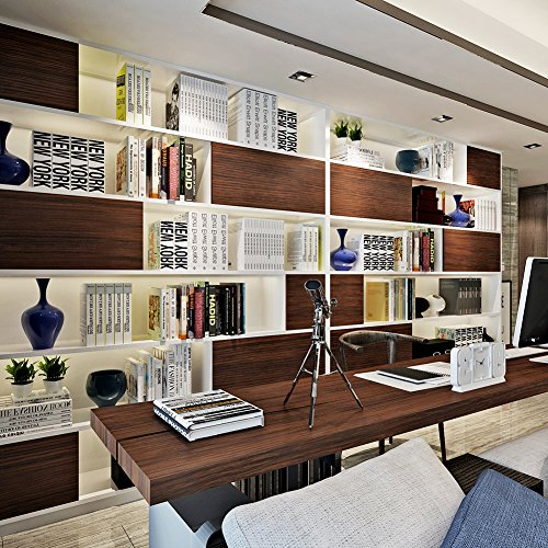 HANMERO reg; Papel pintado autoadhesivo imitación madera para muebles vinilos pegatinas de pared para Cocina/mesa/escritorio/puerta/armario, color marrón