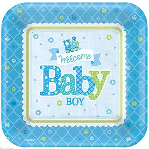 """8 Pappteller eckig """"Welcome Baby Boy"""" Blau/Grün 26cm"""