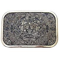 Square Mayan Aztec Calendar Belt Buckle