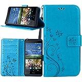 Dooki, diseño de mariposas y flores funda de piel sintética con tapa y tarjetero para HTC Desire 626626S D626X 626G + con tarjeta de Crédito Soporte Ranura (F-2)