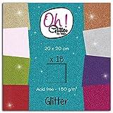 Toga Oh ! Glitter PWM11 Bloc DE 18 Feuilles Papier Pailleté Multicolore 20 x 20 x 0,5 cm