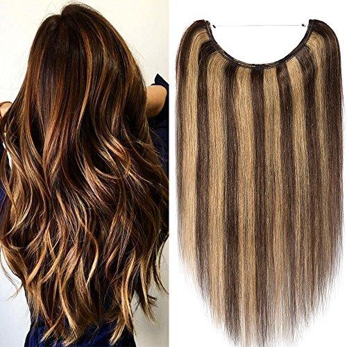 One piece extension capelli veri con filo trasparente wire in 100% remy human hair lisci umani lunga 45cm pesa 65g, #4/27 marrone cioccolato/biondo scuro