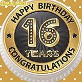 vorgeschnittenen Essbarer Zuckerguss großen Kuchen Topper–19,1cm schwarz rund & Gold Age 16Happy 16. Geburtstag