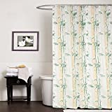 CASA Furnishing PVC Plastic Shower Bathroom Curtain with 8 Hooks (54x78 inches, Green, Standard Size)