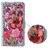 spritech (TM) PU Leder Wallet Case 3D handgefertigt Sparkle Rosa Kristall Design Blume Schmetterling verziert SIM zusammenklappbar Smartphone geschützt Cover mit kartenfächer Samsung Galaxy S4 Mini I9195 Pink