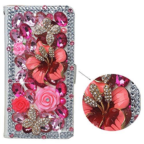 spritech (TM) PU Leder Wallet Case 3D handgefertigt Sparkle Rosa Kristall Design Blume Schmetterling verziert SIM zusammenklappbar Smartphone geschützt Cover mit kartenfächer, metall, rose, iphone 5C