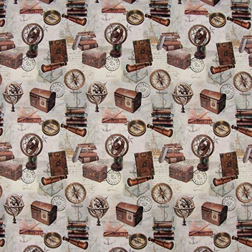 SCHÖNER LEBEN. Baumwollstoff Digitaldruck Vintage Nautik Bücher Kompass Anker grau braun 1,6m Breite