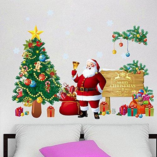 Extsud 2 Pezzi Adesivi Murales Natale, Carta da Parete Babbo Natale Albero Regali, Wall Stickers Festa Merry Christmas Decorazione Natalizia per Casa Camerette Salotto Fai Da Te (Modello 1)