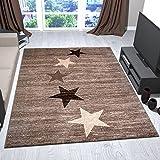 Teppich Modern Jugendstil Braun Beige Kurzflor Stern Muster Pflegeleicht Top Qualität 120x170 cm