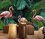 Wh-Porp Benutzerdefinierte Wallpaper Wall Stickers Hand Grün Gezeichnet Tropischen Regenwald Flamingo Wandbild 3D Wallpaper-350Cmx245Cm
