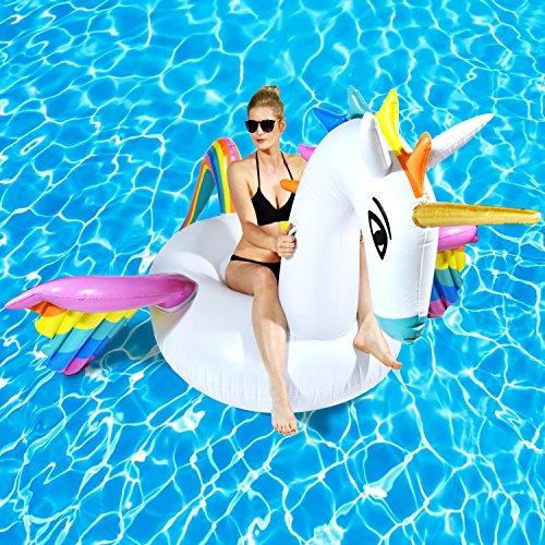Goods & Gadgets Aufblasbare Einhorn Luftmatratze XXL Unicorn Badeinsel Matratze 250 x 250 cm