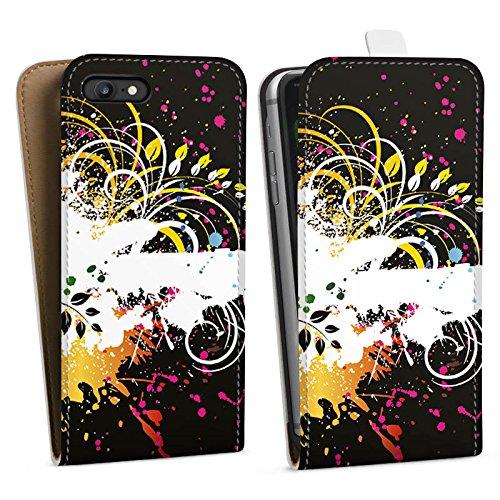 Apple iPhone X Silikon Hülle Case Schutzhülle Ornament Flower Bunt Downflip Tasche weiß