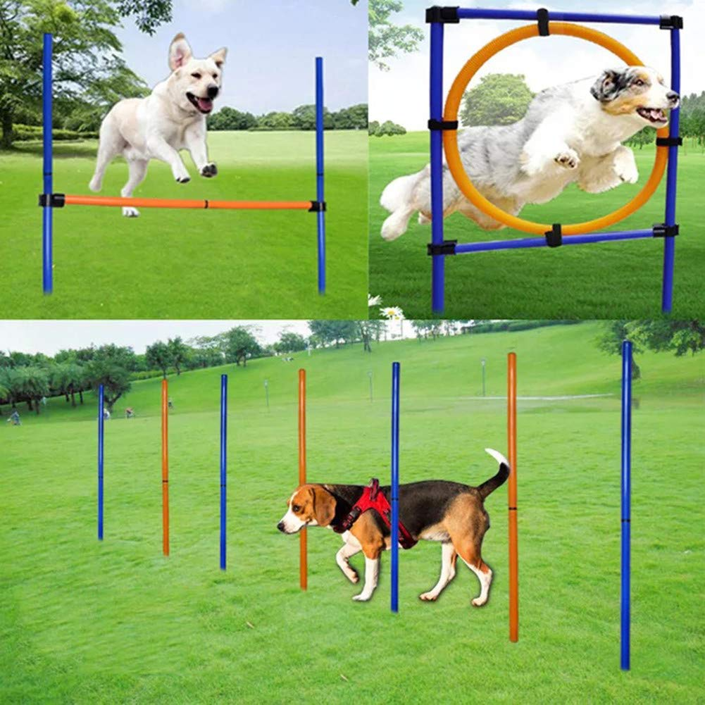 MelkTemn Pet Outdoor Games Dog Agility Exercise Training Equipment Agility Starter Kit Dog Play Run Jump Obedience Training Set Adjustable with Agility Hurdle, Slalom Poles and the Jumping Hoop