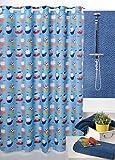 Duschvorhang 180cm breit x 200cm lang Kleiner Pirat Textil mit eingenähten Ringen