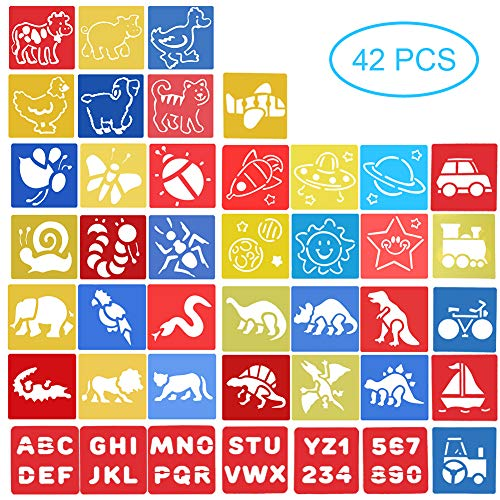 42pcs Stencils Set for Kids Children Drawing - Dinosaur Animal Letter and Number Stencils - Arts and Crafts for Girls Boys - Toys Gifts for Age 3 4 5 6 Year Old