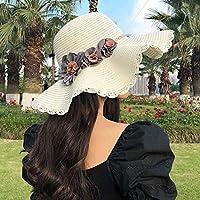FHHYY sombreo Gran Sombrero de ala Ancha Sombrero de Sol de Verano Gorro de Playa Mujer Vintage Rayado Sombrero de Playa señoras Mujer Disquete Sombrero de Paja,Elfenbein