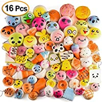 Kuuqa 16Pcs Random Kawaii Squishy Charms Slow Rising Squishies Jumbo Mini Suave Squishy Panda Cat Donut Cono de helado Bolas de alivio del estrés Juguetes Fiesta de cumpleaños Favorece Regalos para niños de KUUQA