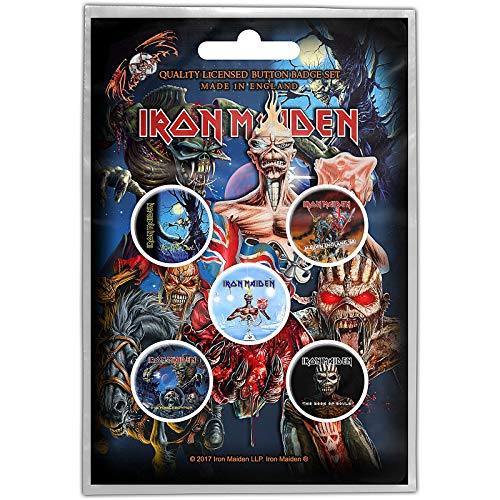 Iron Maiden Pacchetto Spille 5 x Pin Button Albums band logo Book of Souls