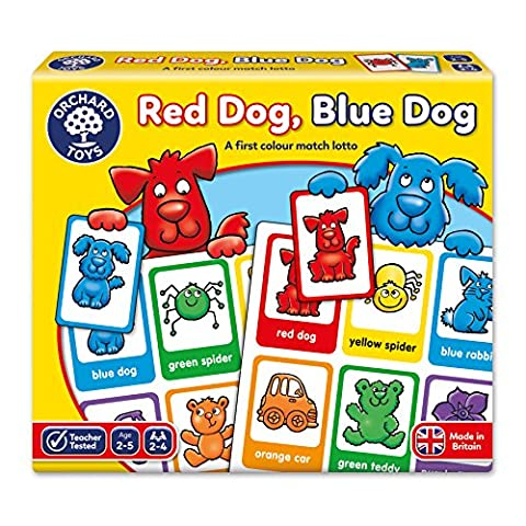 "Orchard Toys - Jeu de chien rouge, chien bleu ""Red Dog, Blue Dog"" - Langue: anglais"