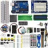 El kit de inicio avanzado ViewTek KT0001 para Arduino está equipado con muchos componentes electrónicos, códigos de prueba y 23 tutoriales introductorios básicos. Componentes. UNO Card R3 Generic Arduino x 1. Servomotor (SG90 9G 23 * 12.2 * 29mm azul...