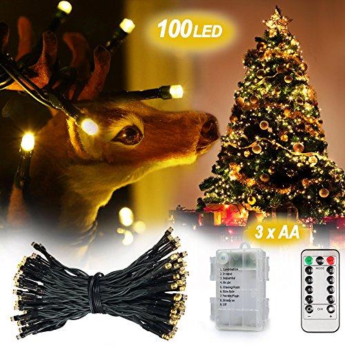 [ Fernbedienung und Timer ] InnooLight 10m 100er Dimmbare Wasserdichte Warmweisse Weihnachtensbeleuchtung mit 8 Modi als Lichterkette Innen, Aussenbeleuchtung , LED Lichterkette mit Batterie, lichterkette aussen batterie