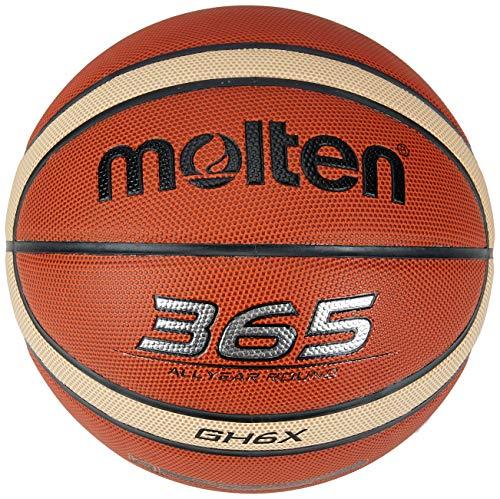"""Molten Ballon de Basketball en Cuir synthétique « 365"""" X Technology », Marron, Taille 6"""