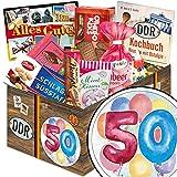 50. Geburtstag | Ostalgie Box | DDR Suessigkeiten-Box mit Puffreis-Schokolade, Liebesperlenfläschchen, Othello Keks Wikana uvm.