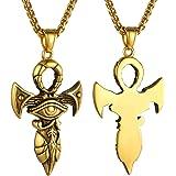 GOLDCHIC JEWELRY Collana con Croce Egizia/Occhio di Ra/Ankh, Gioielli Antichi Egiziani in Acciaio con Protezione della Fortun