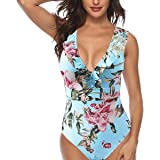 SEDEX Costume Intero Donna Increspatura Push Up Monokini Halter Profondo V Scollo Triangolo Sexy Costume da Bagno Beachwear d